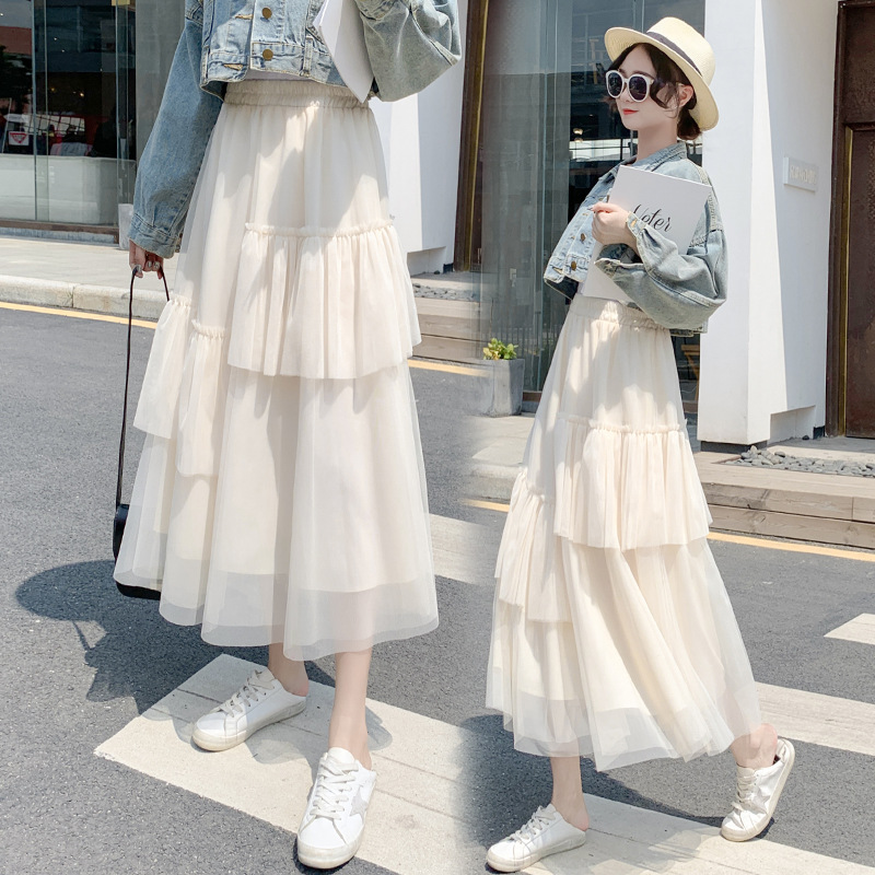 2020 Spring Clothing New Style South Korea Sweet Mid-length Irregular Skirt Versatile Cake Dress