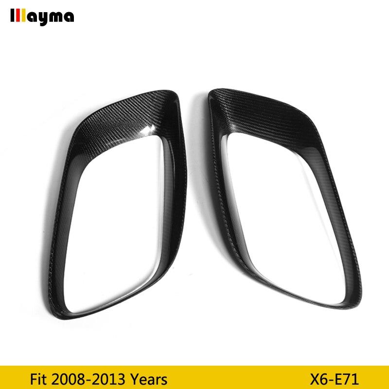 Tłumik z włókna węglowego ozdobna ramka do BMW X6 35i xDrive 2008-2013 rok E71 ogon CF płaszcz podstawowy tłumik rama 1 para