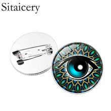 Sitaicery Eye Of Horus Brooch Jewelry Christmas Gifts Glass Cabochon Dome Vintage Egyptian Pin Brooches Pins For Women Men