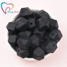 Teeny dentes 10 pçs preto 14-17mm hexagonal silicone contas dentição mordedor bebê diy chupeta corrente brinquedo do presente do bebê grânulos de grau alimentício