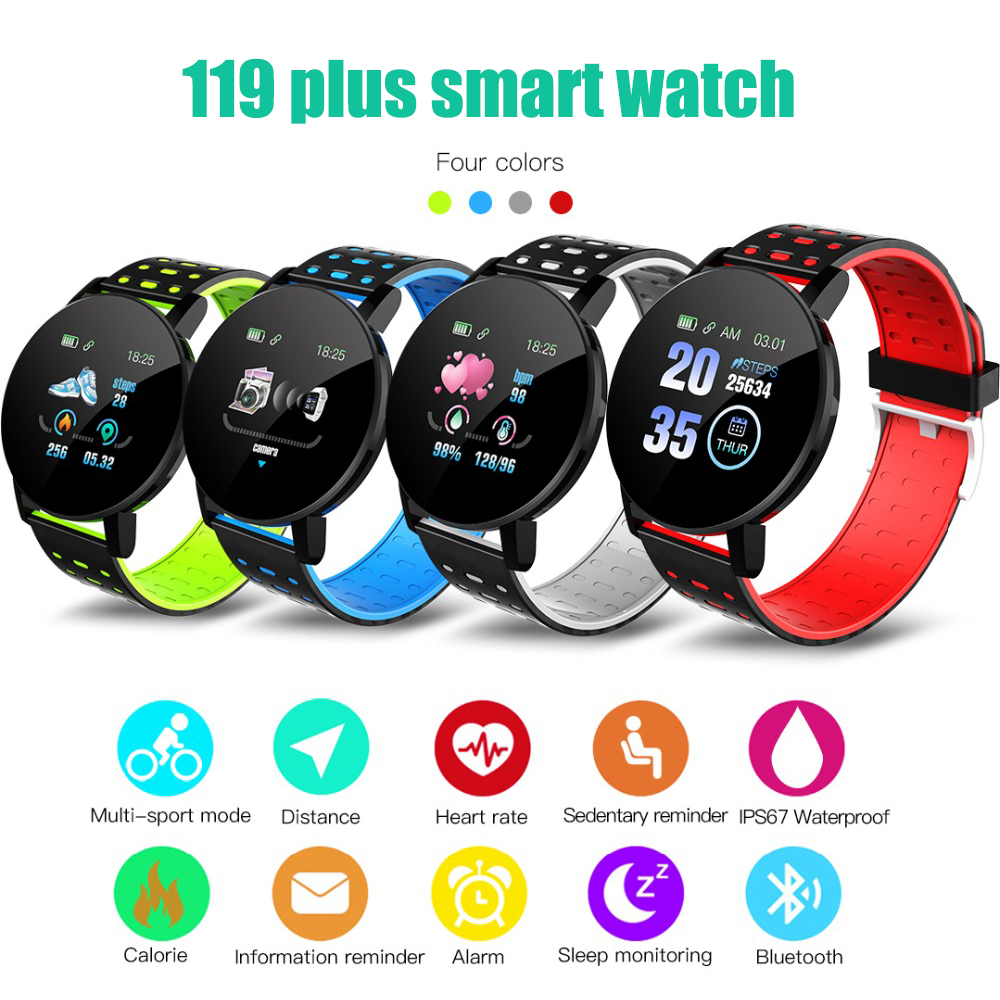 119Plus Smart Wristband Heart Rate Monitor Sport Tracker Smart Watch Sport Smartband For Android IOS Men Women Smart Bracelet