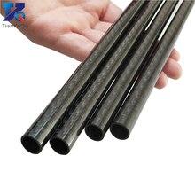 4PCS  3K Carbon fiber circular tube Plain Glossy Length 500mm high hardness OD 8mm 10mm 12mm 16mm 20mm 25mm 30mm