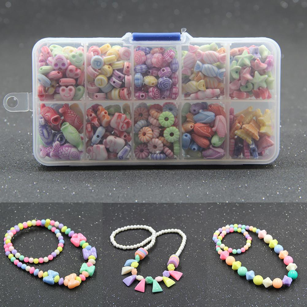 Kids DIY Hand Acrylic Beads + Elastic String Mixed Color Acrylic Spacer Beads Elastic Stringed Kids DIY Bracelet Jewelry Toy
