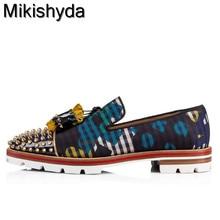 Mikishyda Men Graffiti Newspaper Casual Loafers Flats Slip-on Anti-skid Tassel Oxfords Street Style Rivets Stud Shoes