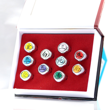 New For Anime NARUTO Akatsuki Ring Weapon Uchiha Itachi Pain Pendants Rings Cosplay Toy Set Metal Key Chain стоимость