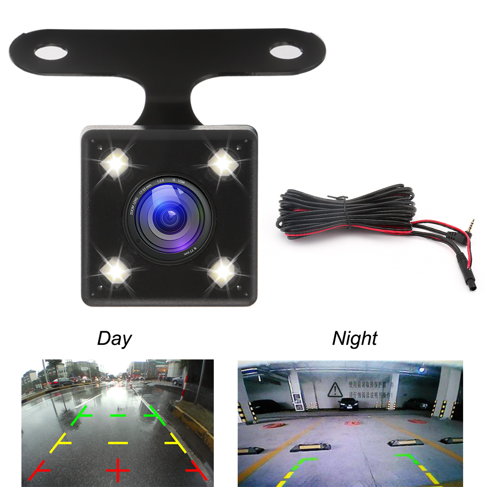 Night Vision 4 Led Lamps HD Car Rear View Camera Lens Reverse Camera 2.5mm Jack With 6 Miters Cable For Car Dvr Mirror Recorders