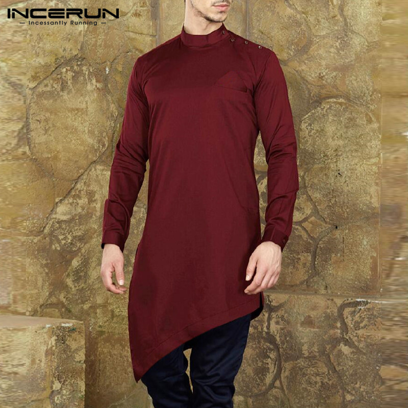 INCERUN Mens Shirts Long Sleeve Solid Men Long Tops Stand Collar Muslim Kaftan Casual Irregular Shirts Men Indian Clothes 2020