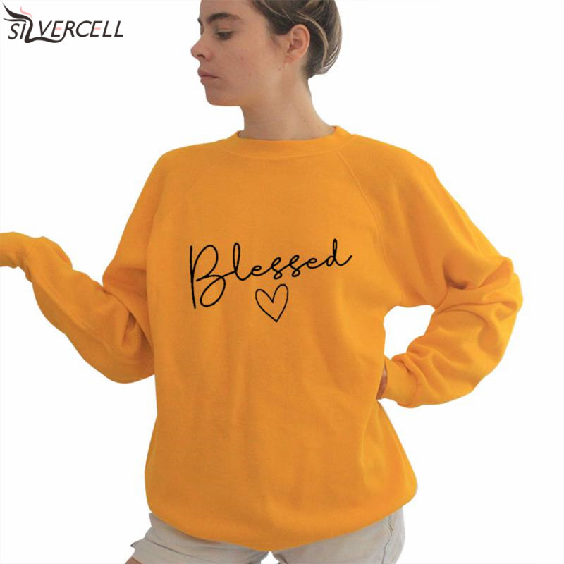 Tops Women's Sweatshirt Autumn Long Sleeve Pullover O-neck Blessed Letter Casual Loose Plus Size Sweatshirt TS