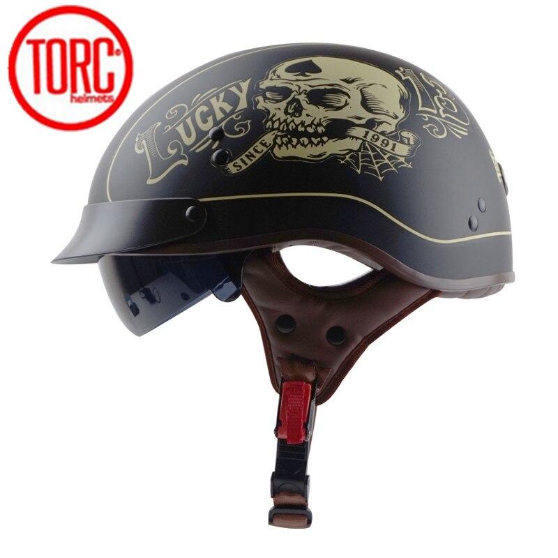 TORC T55 Vintage Motorcycle Helmet Retro Half Helmet With Inner Sun lens Scooter jet capacete de motocicleta  DOT Casco Moto|Helmets| |  - title=