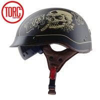 TORC T55 Vintage moto rcycle Casco Retro Mezza Casco Con Interno lenti Da Sole Scooter jet capacete de moto cicleta DOT casco moto
