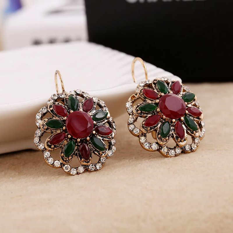 vintage antique gold Bohemian style resin stone earring women's France buckle earrings one pair xye241
