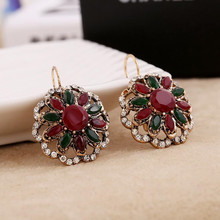vintage antique gold Bohemian style resin stone earring women's France buckle earrings one pair xye241