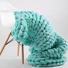 For Custom Fashion Hand Chunky Knitted Blanket Thick Yarn Wool-like Polyester Bulky Knitted Blankets Winter Soft Warm Throw Drop