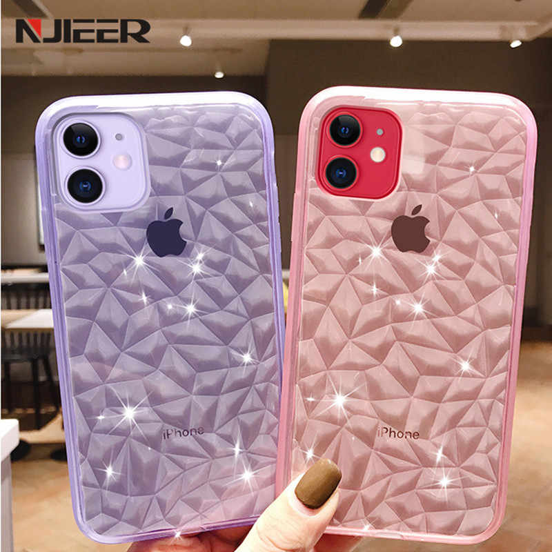 Transparent ซิลิโคนสำหรับ iPhone 11 Pro XS MAX X XR 8 7 6 6S PLUS SE 2 2020 Glitter Diamond Texture COVER