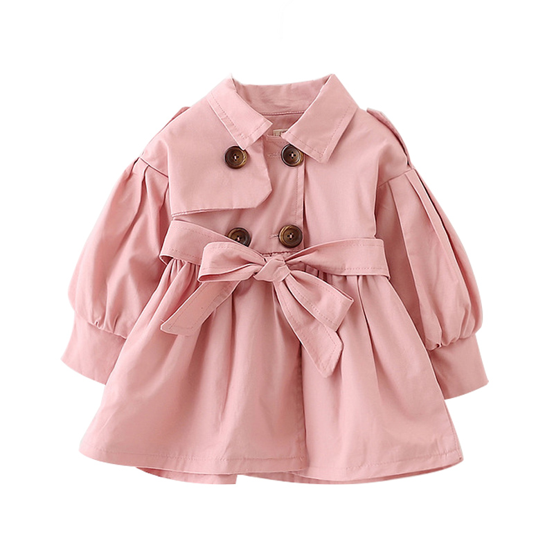 Fashion Autumn Baby Girl Coat With Belt 1-3 Years Baby Girls Coats Long Jackets Outerwear Kids Overcoat Clothes For Baby