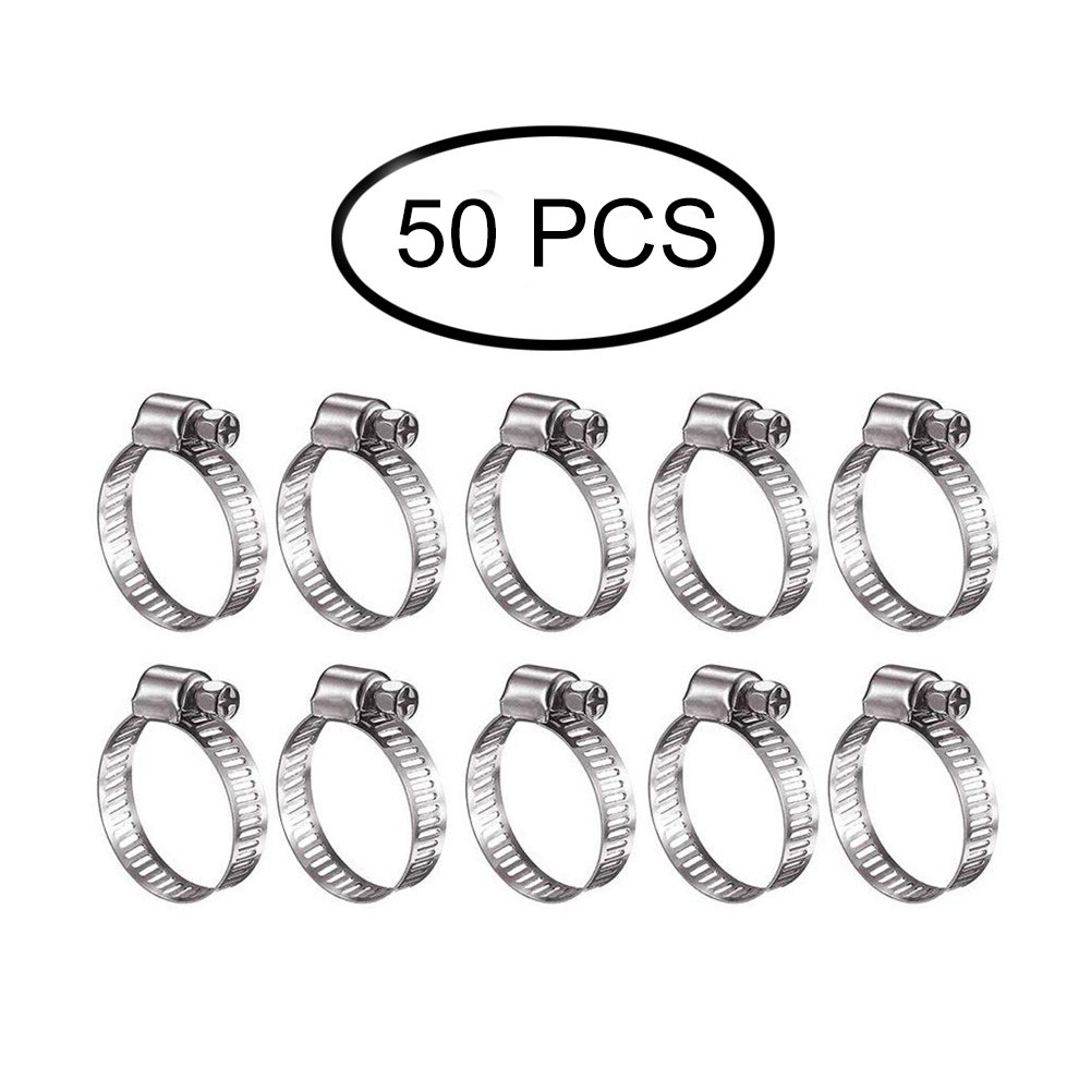 50pcs Worm Drive Stainless Steel Fuel Hose Pipe Clamps//Jubilee Clips
