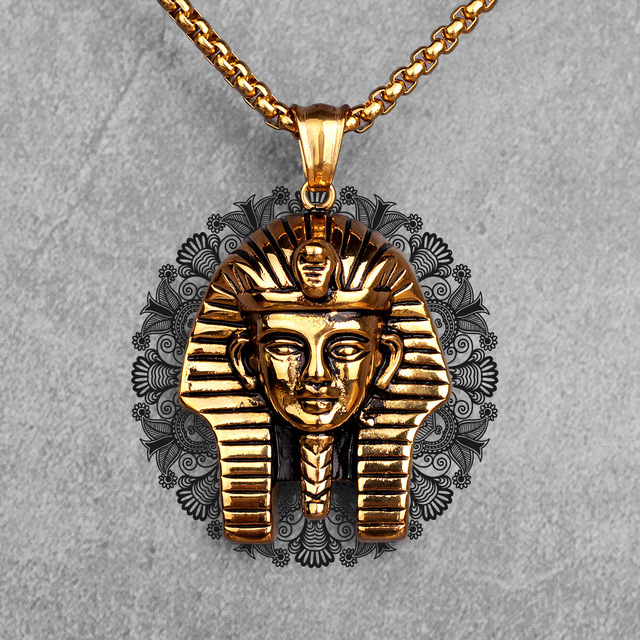 Egypt Pharaoh Long Men Necklaces Pendant Chain Punk Hip Hop for Boyfriend Male Stainless Steel Jewelry Creativity Gift Wholesale