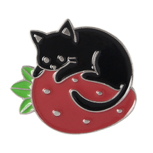 Fruit Cat Pins Black Brooches Kitty Badges for women Cute Kawaii Jewelry Gift lady
