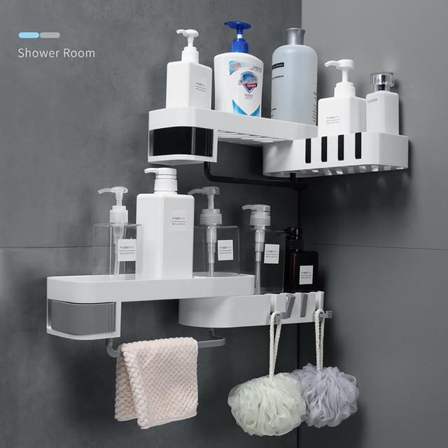 1 pcs  Corner Shower Shelf Bathroom Shampoo Shower Shelf Holder Kitchen Storage Rack Organizer Wall Mounted Type baño 4полка для 5