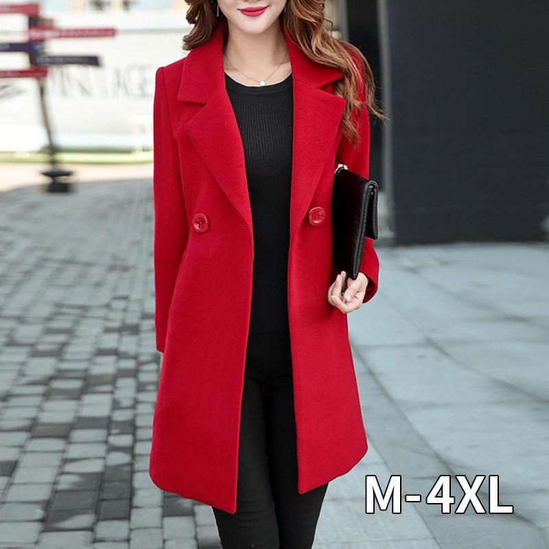 Winter Coat Women Korean Wool Coat Women Ladies Female Winter Blue Red Coats Monteau Femme Outwear Woman Autumn Winter Coats