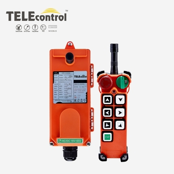 Tele radio F21EOT overhead crane industrial wireless remote control F21-E2 with 6 single speed mushroom head and rotatory swtich 1pcs hs 6 ac dc24v 6 channels control hoist crane radio remote control sysem industrial remote control brand new