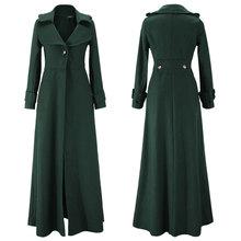 Płaszcz zimowy kobiety wahadło Vent do mopa podłogi Overlength fundusz wełniany płaszcz wiatrówka Oversize długa odzież wierzchnia w stylu prochowca