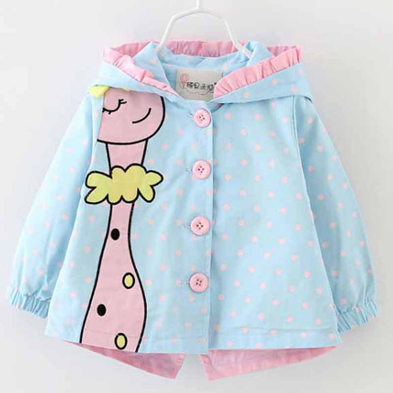 Menoea 2020 Brand Autumn Fashion Baby Girl Coats Jackets Giraffe Pattern Baby Clothes Cartoon Dots Hooded Kids Outerwear