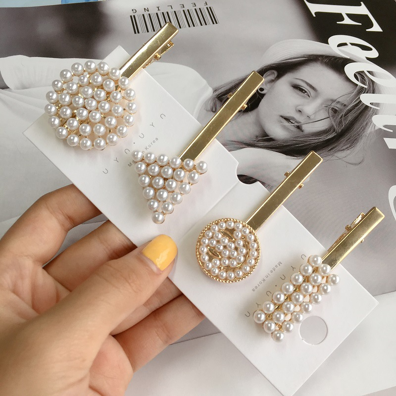 Classic Geometric Round Pearl Hair Clip For Women Fashion New Barrettes Party Hairpins Trendy Hair Accessories Head Wear