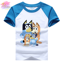 Summer 4-13Y Kids Teen Fashion Tee Bluey Bingo Anime Funny Print T-Shirts For Boy Girl Children Baby Cool Birthday Party Clothes