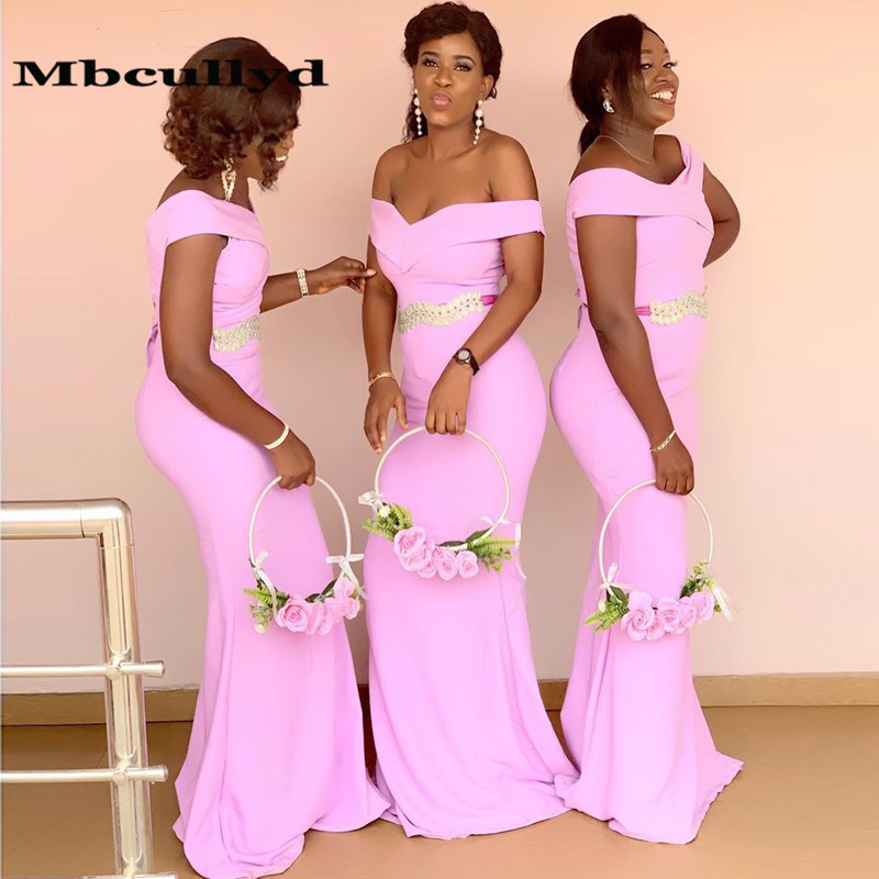 Mbcullyd Pink Mermaid African <font><b>Bridesmaid</b></font> <font><b>Dresses</b></font> 2020 Long <font><b>Sexy</b></font> Off Shoulder Women Wedding Party <font><b>Dress</b></font> Robe Demoiselle D'honneur image