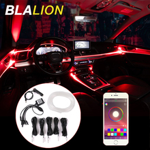 Car Interior Atmosphere Strips RGB Fiber Optic Strip Lights Multicolor APP Sound Control Interior Ambient Lights Decorative Lamp