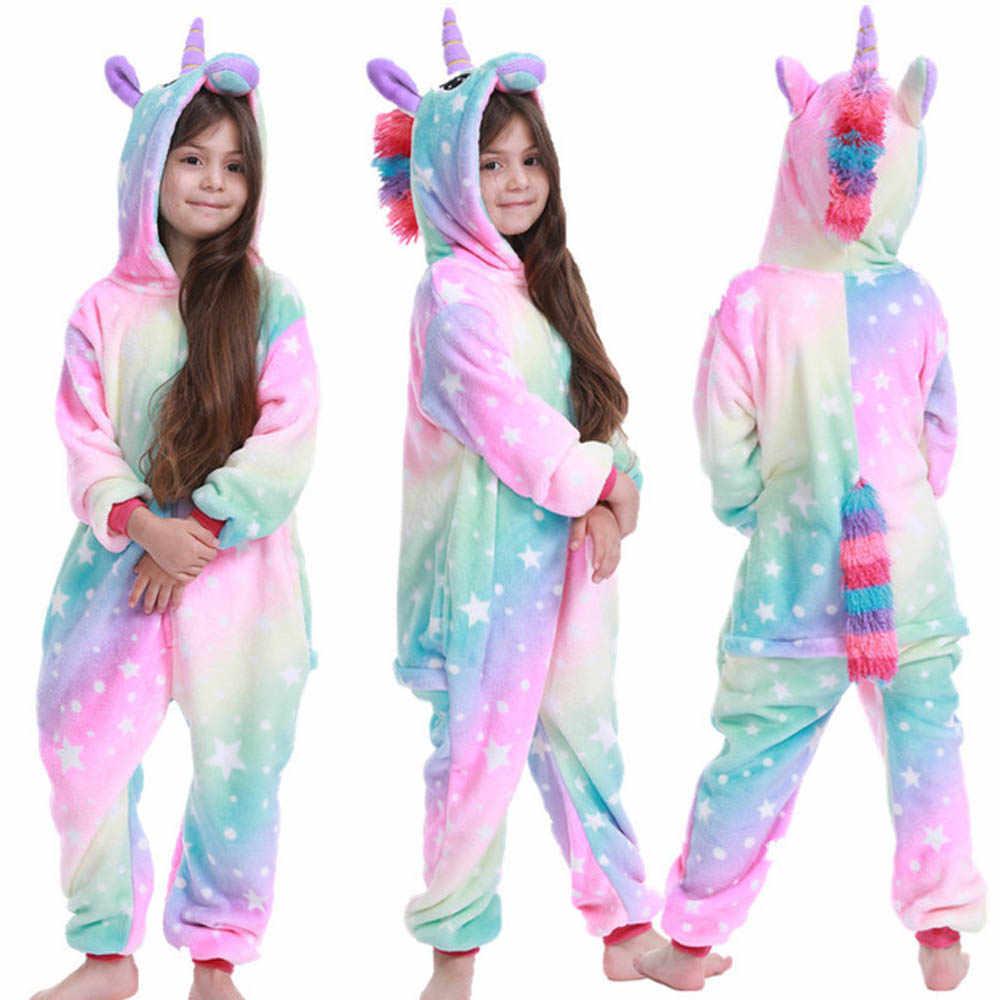Kigurumi דינוזאור סרבל תינוקות בנות בני Kigurumi פיג 'מה מצוירת ילדי unicorn בגדי תינוק חורף סרבל Nightwear 4-12 שנים