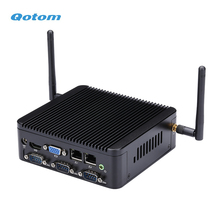 Qotom Fanless CPU J1900 Mini PC Quad Core 2.42 GHz Running 24/7 X86 Mini Industrial Desktop PC Linux Win 7/8/10