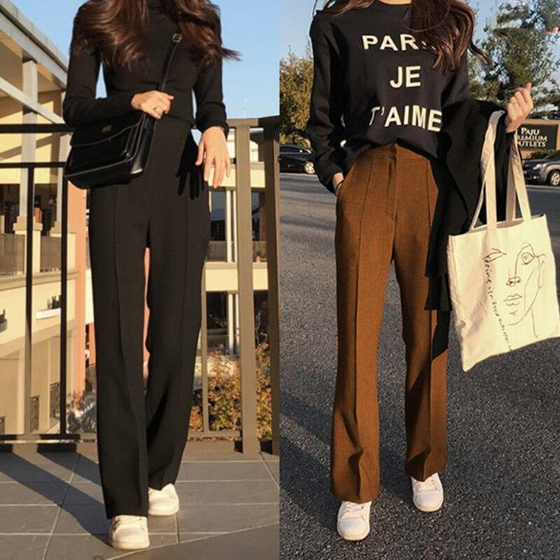 2019 Autumn Pants For Women Woolen Pantalon Female Casual Office Lady Ankle Length Trousers High Waist Wide Leg Pants Winter Femme