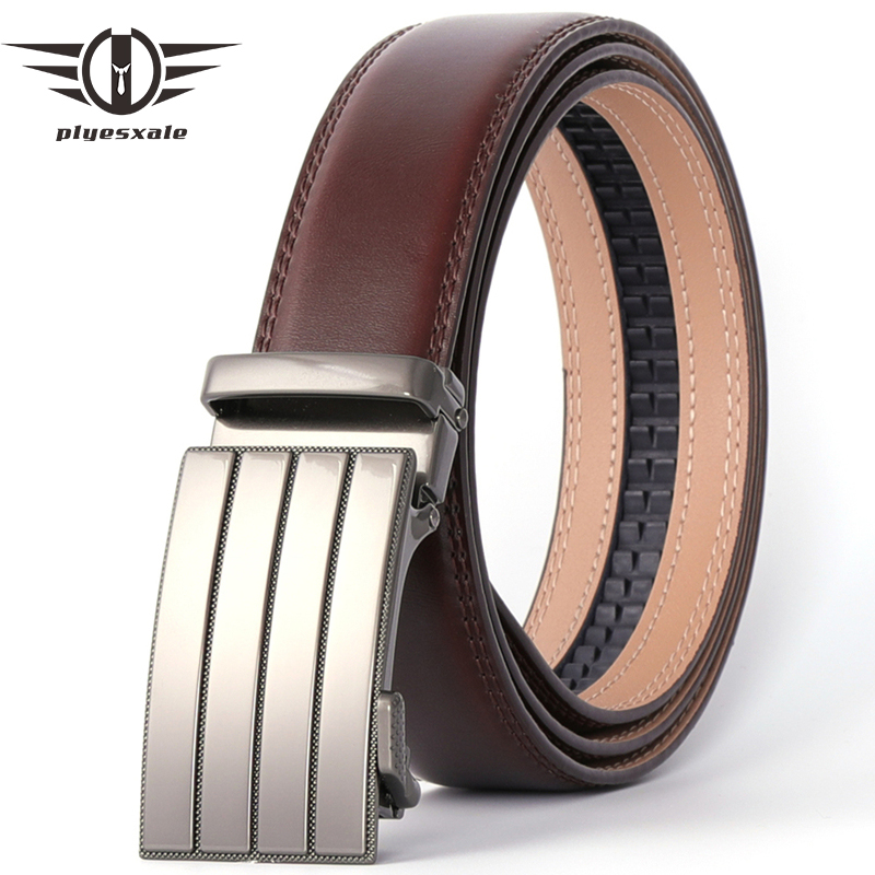 Plyesxale Leather Belt Men Automatic Buckle Designer Belts Men High Quality Luxury Black Coffee Ceinture Homme Luxe Marque B70