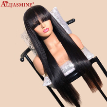Long Straight Remy Lace Wig Brazilian Glueless Lace Front Human Hair Wigs With Bang 180 Density 4X4 Lace Closure Wig For Women
