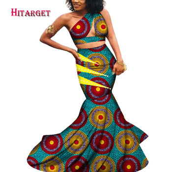Hitarget African Wax Print Dresses for Women dashiki Bazin Riche Sexy One-Shoulder skirt suit Traditional African ClothingWY3999