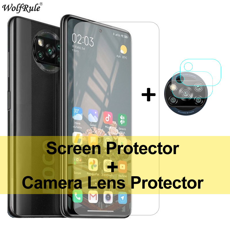 2PCS Screen Protector For Xiaomi Poco X3 Glass Mi A2 Lite A3 9 5 6X Tempered Glass Protective Phone Camera Film For Poco X3 NFC(China)
