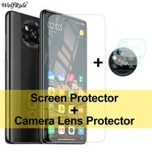 2PCS Screen Protector For Xiaomi Poco X3 Glass Mi A2 Lite A3 9 5 6X Tempered Glass Protective Phone Camera Film For Poco X3 NFC