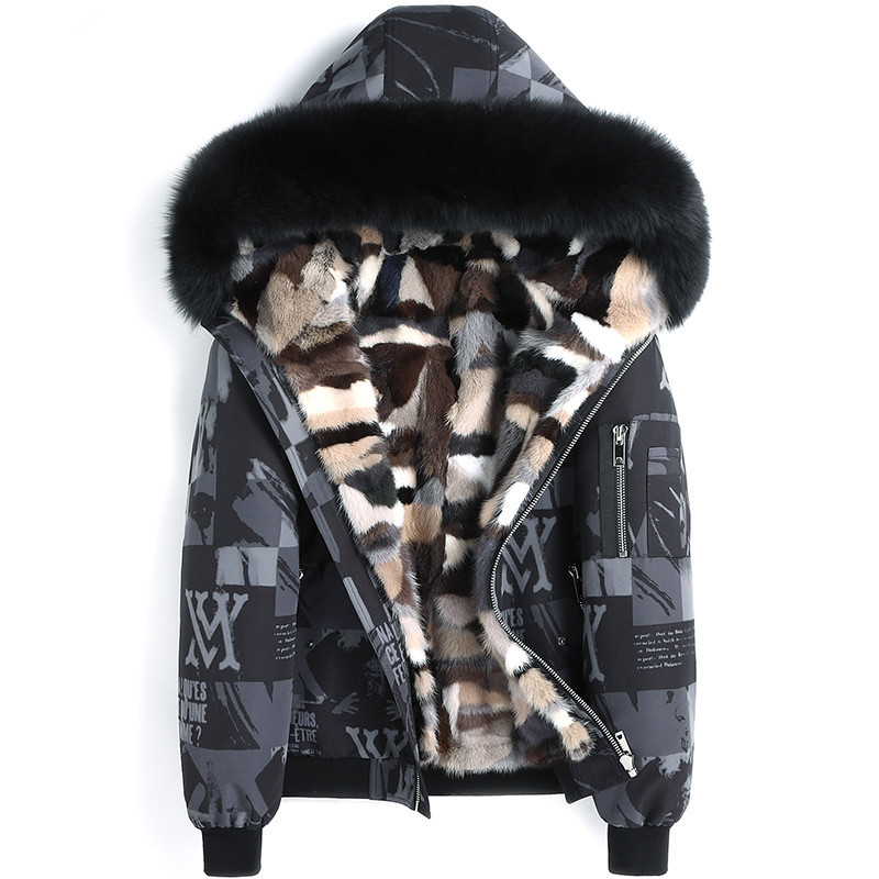 Real Fur Coat Winter Jacket Men Natural Mink Fur Liner Parka Men Fox Fur Collar Warm Parkas Plus Size 5xl Chaqueta Hombre MY1942