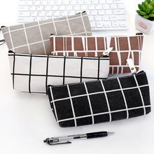 Canvas Storage Bag Students School Pencil Pen Stationery Organizer Case Home Girl Desktop Cosmetic Makeup Brush Pouch Package(China)