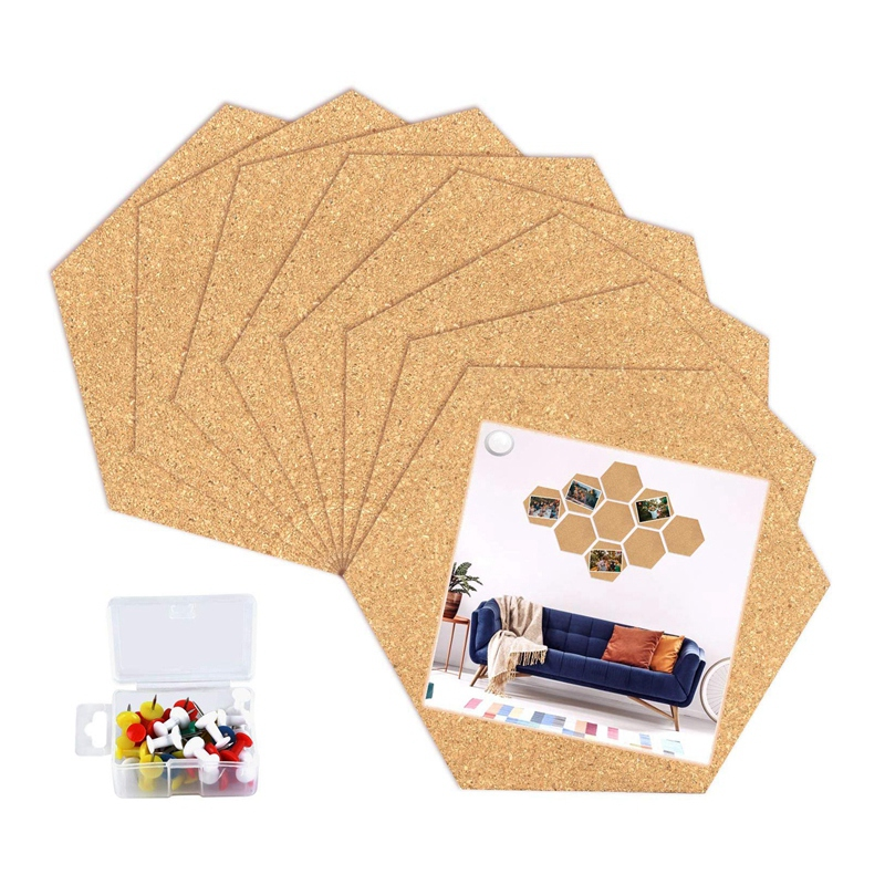 AAY-8 Pack Hexagon Cork Board Tiles With Full Sticky Back,Mini Pin Board With 40X Push Pins For Pictures, Photos, Drawing