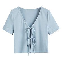 Camiseta para Mujer de verano de punto acanalado, Camisetas de Manga Corta de Color sólido, Crop Tops, Camisetas de Manga Corta para Mujer