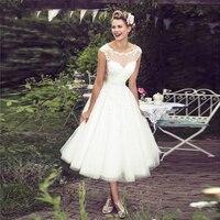 Lace Appliques Ankle Length Formal Wedding Dresses 2020 Vestido De Noiva Turkish Dubai Bridal Gowns Cap Sleeve Bride Dress Aibye