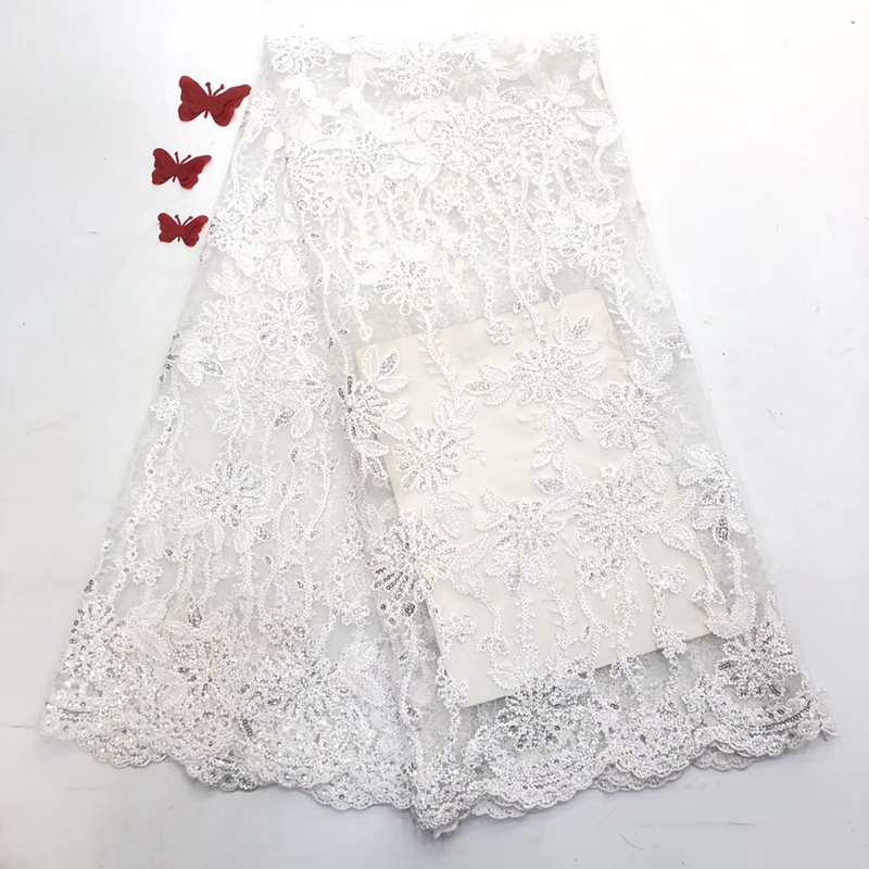 Pure White French Sequined Net Lace Fabrics 2020 New Design Embroidered African Nigerian Lace Fabric For Wedding Prom Dresses