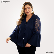 Plus Size Pullovers Woman 4XL V Neck Blue Lace Autumn Pull Sweater Slim Flare Long Sleeve Jumper Fall 2019 Fashion Clothes