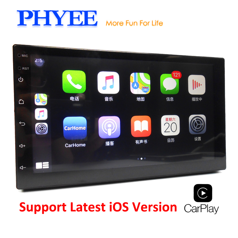 """2 din carplay carro espelho ligação bluetooth 7 """"tela sensível ao toque hd mp5 player de vídeo usb aux sistema áudio estéreo unidade cabeça phyee x3"""
