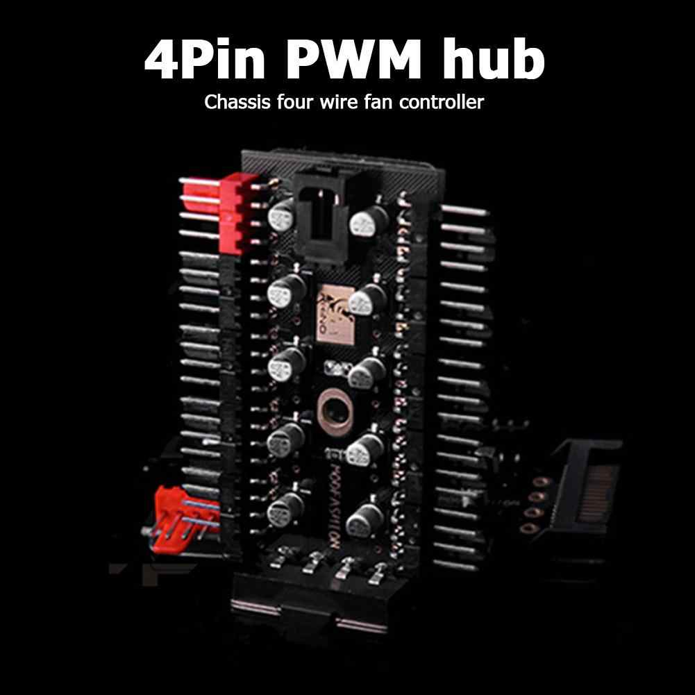 マザーボードに 1 10 4 ピンpwmクーラーファンハブスプリッタ延長 12v sata電源/大 4Dポート供給pc速度コントローラアダプタ