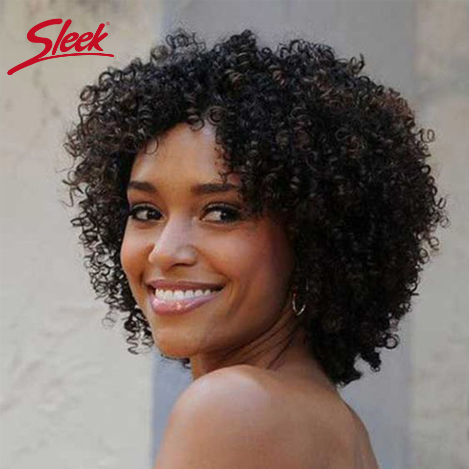 Sleek Afro Kinky Curly Wig Brazilian Short Human Hair Wigs For Women Curly Human Hair Wig Ombre Wig Free Shipping