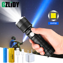 강력한 XHP50 LED 손전등 USB 충전 LED 전술 토치 지원 줌 5 조명 모드 18650 또는 26650 배터리로 구동